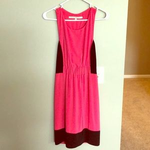 Pink dress with black accents